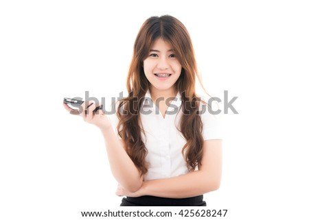 Happy young asian woman with smart phone and thinking with blank copyspace for text,Portrait of beautiful Asian woman,Thai girl,Positive emotion facial expression,isolated on white background