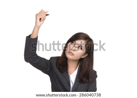 Happy young asian woman writing or drawing on screen with pen with blank copyspace area for text,Portrait of beautiful Asian woman,Thai girl,Positive emotion expression,isolated on white background