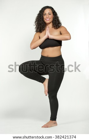 happy young attractive female model with black hair - stock photo