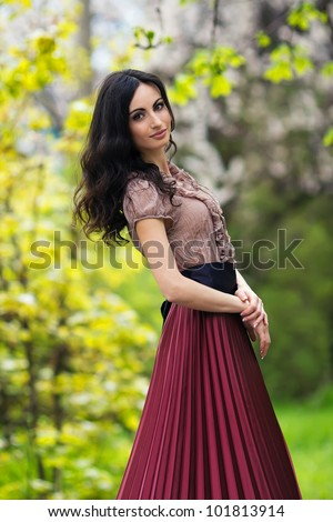 happy young beautiful girl outdoor on the field,running - stock photo