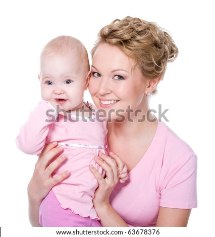 Happy young beautiful mother with attractive smile holding her baby - white background - stock photo