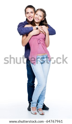 Happy young beautiful smiling couple - isolated. Full-length portrait - stock photo