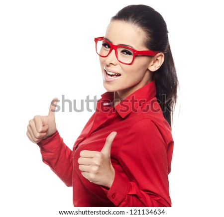 Happy young beautiful woman doing thumbs up. Mixed race asian / caucasian person, isolated on white background. - stock photo