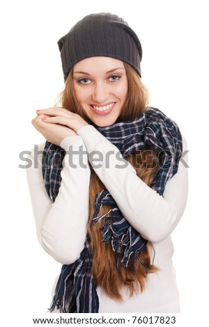 Happy Young Beautiful Woman.Smiling winter Girl over white - stock photo