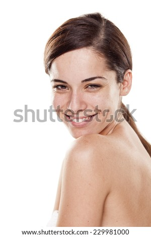 Happy young beautiful woman without make up posing on white background - stock photo