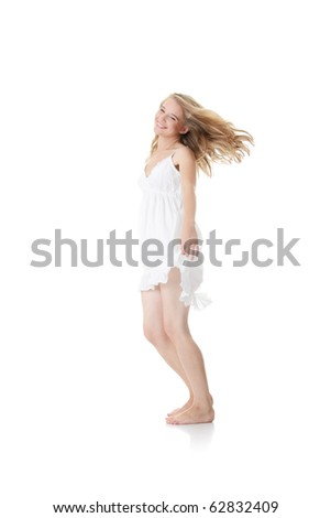 Happy young blond caucasian woman in white summer dress, isolated on white - stock photo