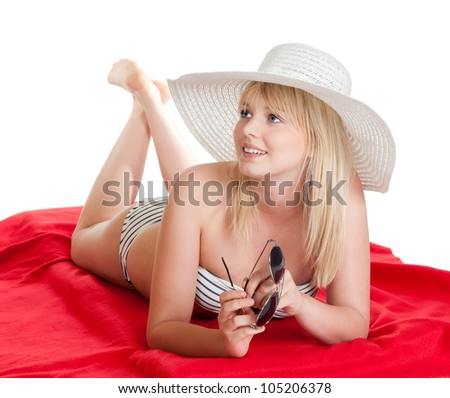 happy young blond woman with hat and sunglasses - stock photo