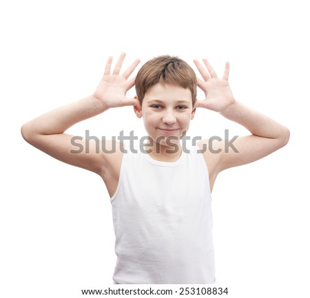 Happy young boy play the ape in a sleeveless white shirt, composition isolated over the white background - stock photo