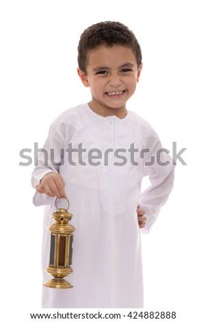 Happy Young Boy with Fanoos Celebrating Ramadan Isolated on White Background - stock photo