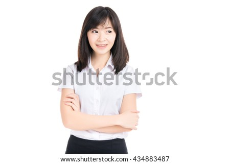 Happy young business asian woman,isolated on white background
