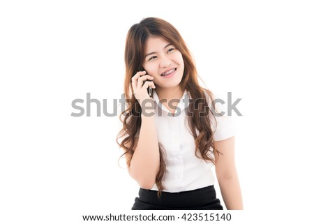 Happy young business asian woman talking on smart phone with blank copy space for text,Portrait of beautiful Asian woman,Thai girl,Positive emotion facial expression,isolated on white background - stock photo