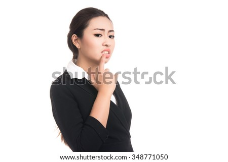 Happy young business asian woman with finger pointing up,Blank copyspace area for text,Portrait of beautiful Asian woman,Thai girl,Positive human emotion facial expression,isolated on white background - stock photo