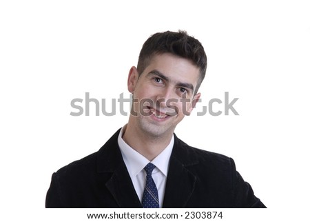 happy young business man alone in white background