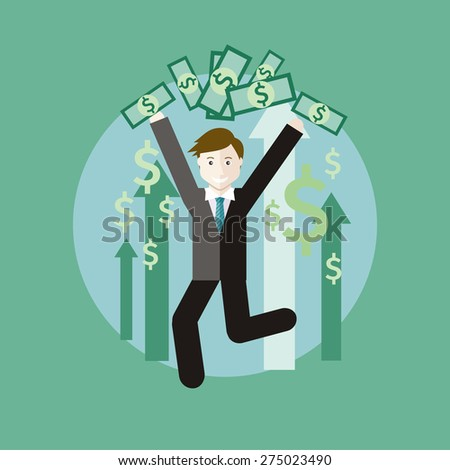 Happy young business man enjoying dollar rain. Concept of salary in flat design style. Can be used for web banners, marketing and promotional materials, presentation templates. Raster version - stock photo