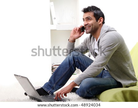 happy young business man on white - stock photo