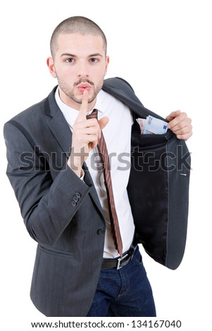 happy young business man with money, isolated - stock photo