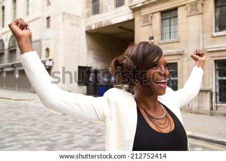 happy young business woman - stock photo