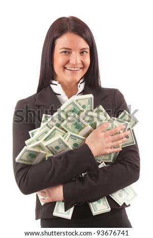 happy young business woman holding  bundles of american dollars isolated on white
