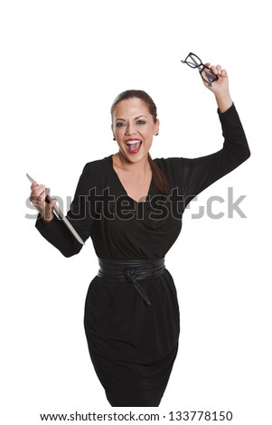Happy Young business woman in white background with tablet and  eyeglasses in her hands in white background