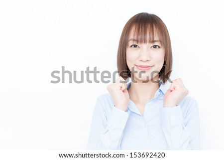 happy young business woman isolated on white background  - stock photo
