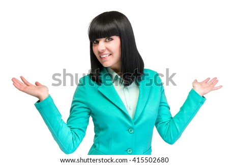 Happy young business woman showing copy space, isolated on white