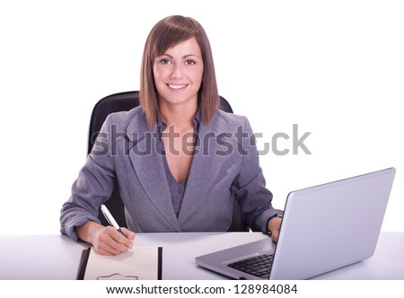Happy Young business woman working