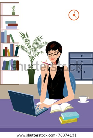 Happy young business woman working in office sitting to her desk with a pen in hand facing laptop or computer - stock photo