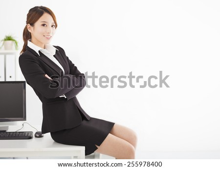happy young business woman working in the office - stock photo