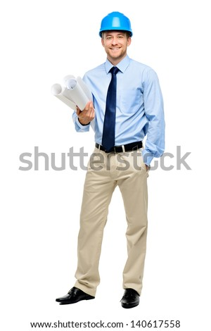 Happy young businessman architect on white background - stock photo