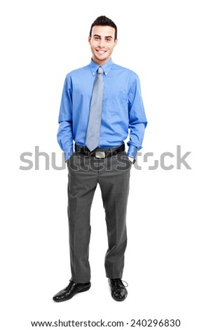 Happy young businessman full length - stock photo