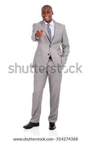happy young businessman pointing at you isolated on white background