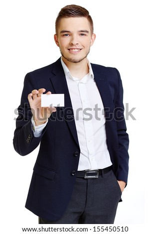 Happy young businessman presenting his company on small card