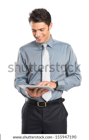 Happy Young Businessman Using Digital Tablet Isolated On White Background  - stock photo