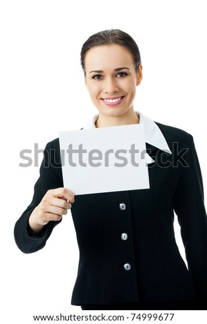 Happy young businesswoman showing blank signboard, isolated on white background