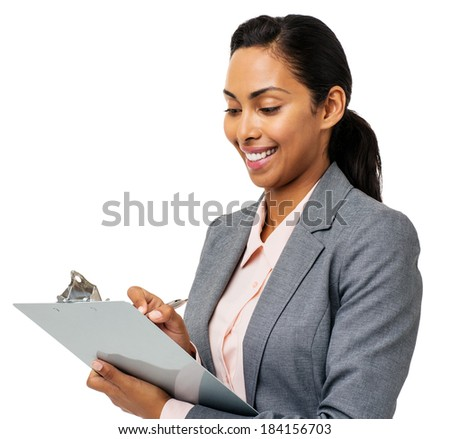Happy young businesswoman writing on clipboard against white background. Horizontal shot.