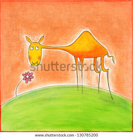 Happy young camel, child's drawing, watercolor painting on paper - stock photo