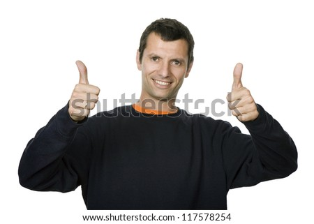 happy young casual man portrait going thumbs up