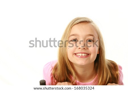 happy young caucasian girl isolated on white