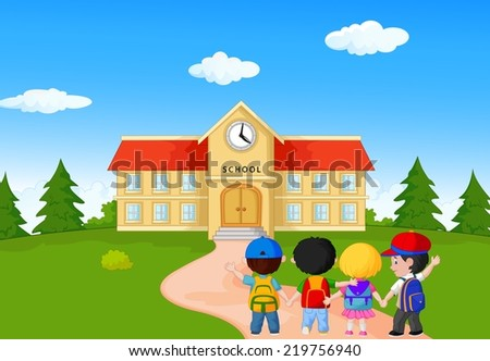 Happy young children walking together to school - stock photo
