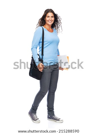 Happy young college student Smiling Cheerful Isolated - stock photo