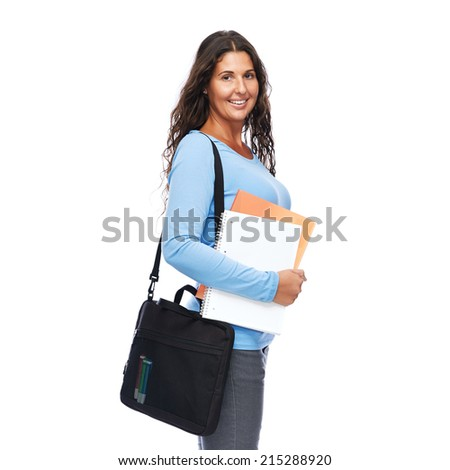 Happy young college student Smiling Cheerful Isolated