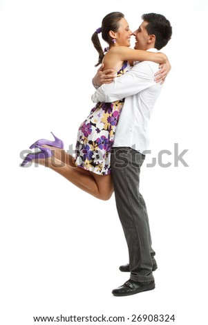Happy young couple having fun, isolated on white - stock photo
