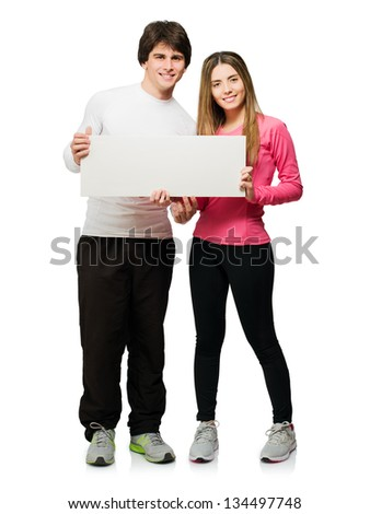 Happy Young Couple Holding Blank Placard Isolated On White Background - stock photo