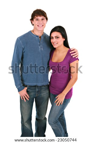 Happy Young Couple Holding Hands Smiling on Isolated White Background