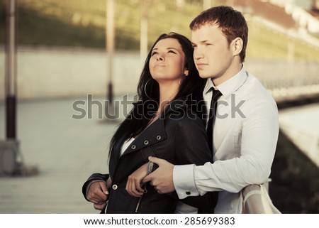 Happy young couple in love outdoor