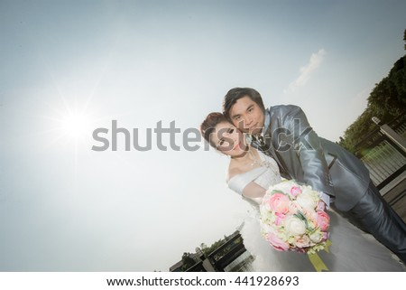 Happy young couple just married - wedding day