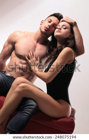 Happy young couple .No brand.Fashion colors. - stock photo