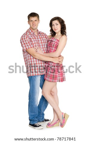 Happy young couple on a white background. - stock photo