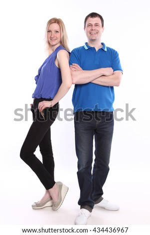 happy young couple on white background