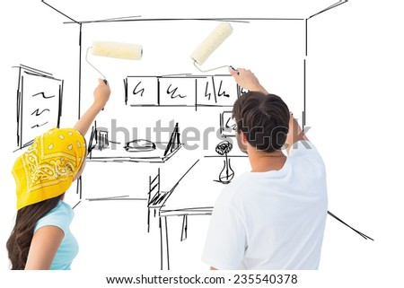 Happy young couple painting together against kitchen sketch - stock photo